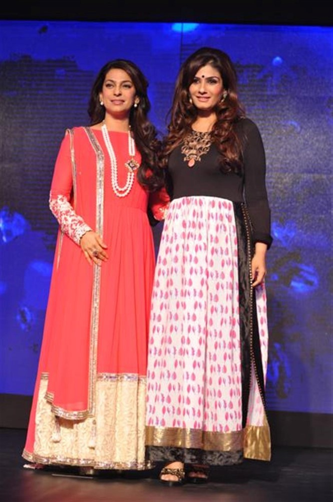 Juhi Chawla and Raveena Tandon at the lauch of Hindi GEC Channel, SONY PAL