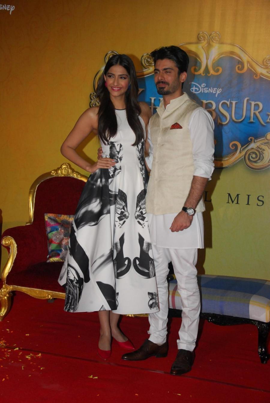 Pakistani actor Fawad Khan and actress Sonam Kapoor during the trailer launch of film Khoobsurat